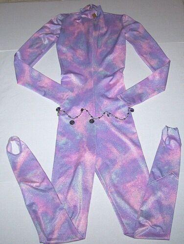 Custom Unitard Costume Long Bodysuit Competition Pink Purple Glitter Women P/S