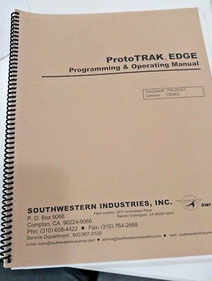 Southwestern Prototrak Edge Programming And Operating Manual