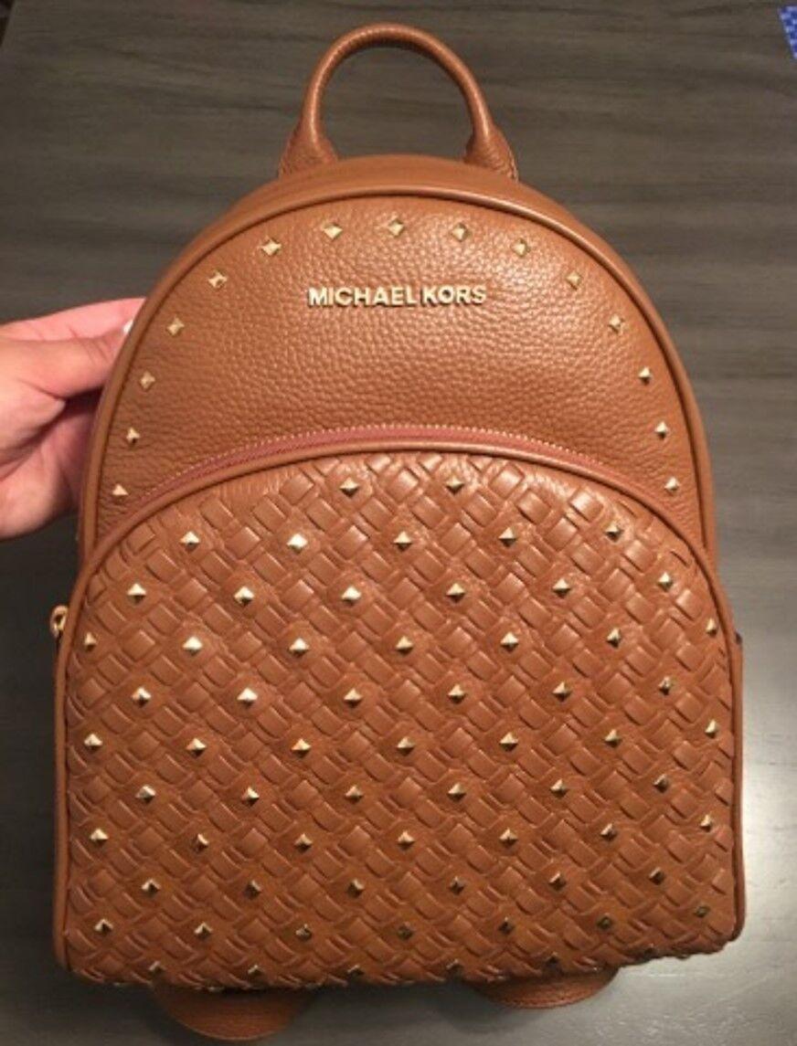 4e675cdd8cbf NWT $398 Michael Kors Luggage Pebbled Leather Studded Medium Abbey Backpack