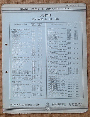 Austin 12/4 and 14hp models 1939   Lucas Parts List 391  Others available