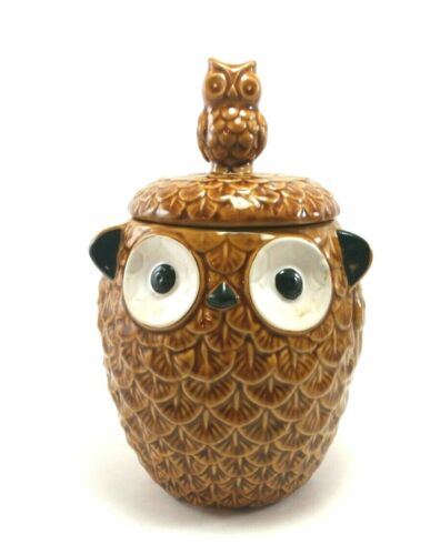 Pier 1 Imports Owl Cookie Snack Jar With Lid Ceramic Brown Stoneware Ten Inches