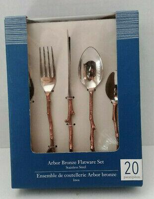 Arbor Place - Pier 1 ARBOR BRONZE Twig Handle Flatware Set 20 Pieces 4 Place Settings NEW