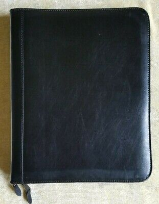 Zippered Black Leather Binder Organizer With Seven Different Sizes Pockets .
