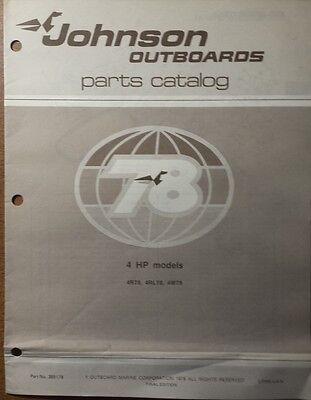 1978 JOHNSON  OUTBOARD 4 HP  MODELS PARTS CATALOG