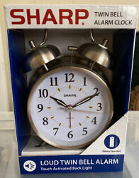 SHARP Analog Twin Bell Alarm Clock Quartz Silver Old Fashioned Battery Operated