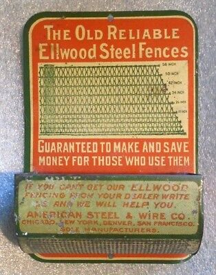 old tin litho match safe advertising Ellwood Steel Fences