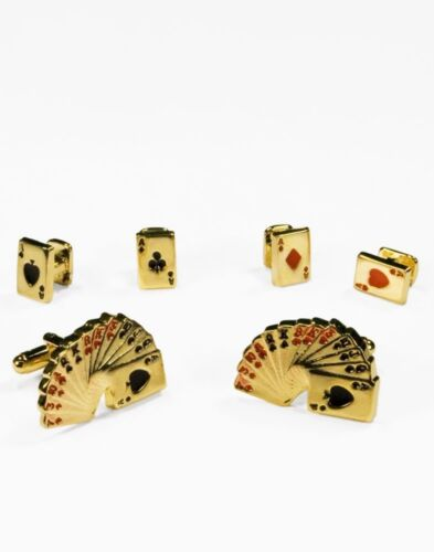 Playing Cards Cufflink and Stud Set