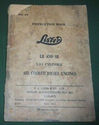 Lister Lr Sr Diesel Engine Operator Operation Maintenance Manual Book