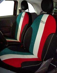 housses couvre siege pour fiat 500 2008 tricolori set couvre si ges ebay. Black Bedroom Furniture Sets. Home Design Ideas