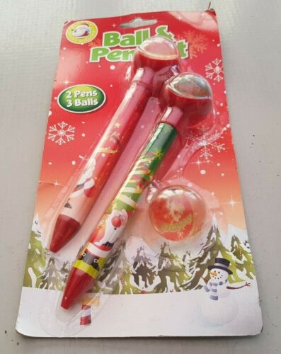 Christmas+Ball+and+Pen+Set+3+x+Rubber+Balls+and+2+Santa+Decorated+Pens