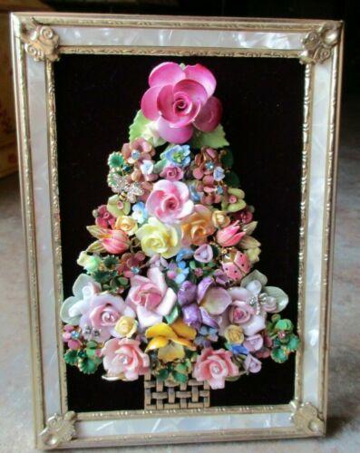 Vtg China Porcelain Flower & Rhinestone Jewelry Christmas Tree Framed Art OOAK