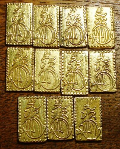 HIGH GRADE 1859-1869 NIBU KIN - 2 BU LARGE JAPANESE GOLD SAMURAI BAR/COIN