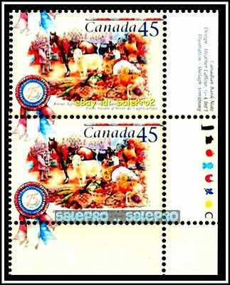 2x CANADA 1997 ROYAL AGRICULTURAL WINTER FAIR FACE 90 CENT MNH CORNER STAMP LOT