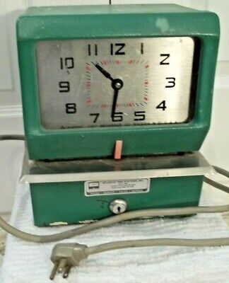 Vintage Acroprint Time Recorder Clock Punch  Mid Century Mad Men