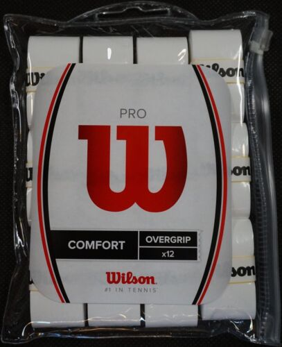 NEW Wilson Pro Comfort Tennis Overgrip White 12-Pack - Waterproof zipperd Bag