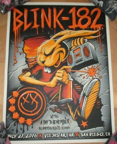 BLINK 182 concert gig poster print SAN DIEGO 2016 7-21-16 brandon heart