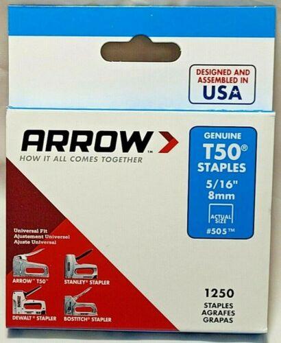 """5/16"""" (8mm) T50 Staples Steel 1250/Pack Arrow Fastener 505 50524"""
