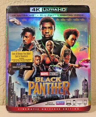 Black Panther  4K Ultra Hd Blu Ray Digital Code  2018  Brand New Free Shipping