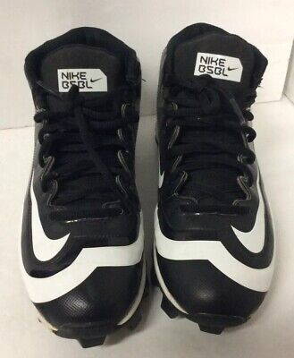 NIKE BSBL Huarache Size 6Y Baseball Shoes Cleats Black and White