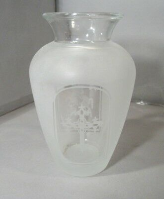 Frosted Glass Vase with Serbian Religious Markings