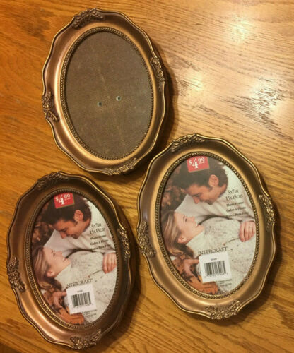 Lot of 3 Antique Look Intercraft Oval Picture Frames 5x7 - Brand New