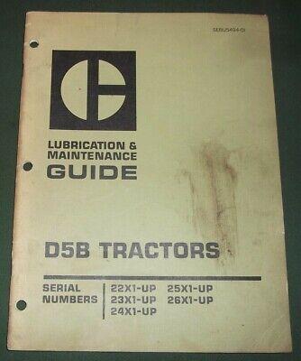Cat Caterpillar D5b Crawler Tractor Dozer Lubrcation Maintenance Manual Book