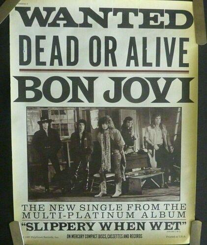 RARE BON JOVI WANTED DEAD OR ALIVE 1987 VINTAGE ORIG MUSIC STORE PROMO POSTER