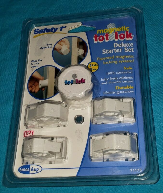 Safety 1st Tot Loks 5 Piece Starter Set 4 Loks 1 Key NIP ***FREE SHIPPING***