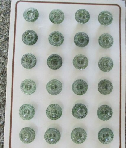 """Card of 24 ~Vintage 7/16"""" green  Crystal Gem painted Glass Buttons~NOS"""