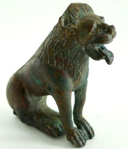 Ancient Solid Bronze Statue of a Lion