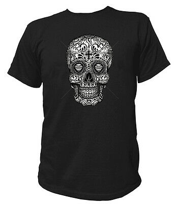 Herren T-Shirt Gothic SUGAR SKULL - BLACK & WHITE Rockabilly Hot Rod 17037 ()