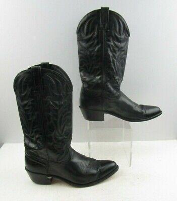 Men's ACME Black Leather Western Cowboy Boots Size : 9.5 EW