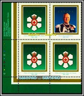 CANADA 1992 CANADIAN ORDER MICHENER 1967 FV FACE $1.68 MNH CORNER STAMP BLOCK