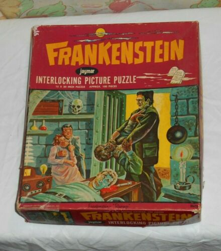 vintage 1963 Jaymar FRANKENSTEIN JIGSAW PUZZLE (incomplete) in original box