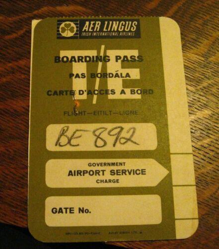Aer Lingus Vintage Boarding Pass - Vintage Irish International Airlines Airplane