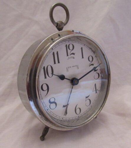 RARE 8 DAY 1908-1928 ANTIQUE NEW HAVEN ALARM CLOCK- RUNS! SERVICED! EXCEPTIONAL!