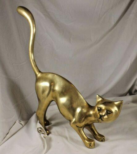 "Vintage Brass Bronze Siamese Cat Statue Sculpture Art Korea Large 14"" Long"