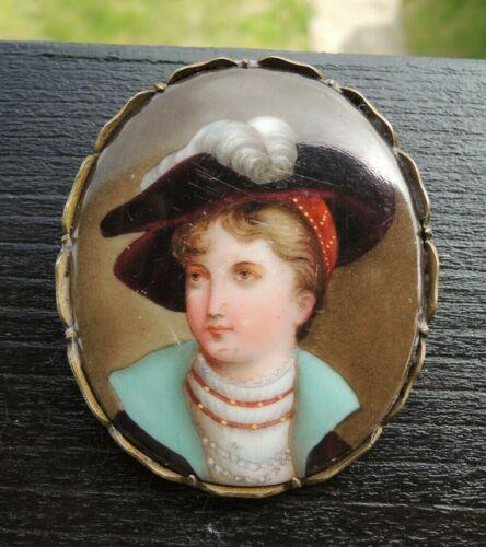 Victorian Miniature Portrait Hand Painted Porcelain Pin Brooch KPM Germany