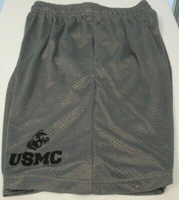 Men's MPV Sport USMC Grey Nylon Mesh Running shorts draw string side -