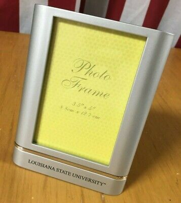 LSU Tigers brushed metal Desk PHOTO Picture FRAME 3.5x5