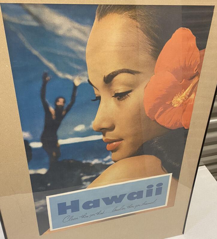 Vintage Hawaii Travel Tourism Litho Wall Poster Girl Ocean Tiki Bar Decor Prop