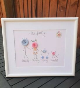 Button Family Frame / Birthday Gift / Button People / Handmade / Button Picture