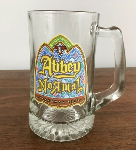 ABBEY NORMAL BELGIAN STYLE ALE MUG GLASS W/ HANDLE WEIGHTED BOTTOM BEER BARWARE