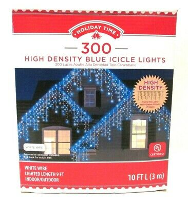 NEW HOLIDAY TIME 300 HIGH DENSITY BLUE ICICLE LIGHTS WHITE WIRE BRAND NEW