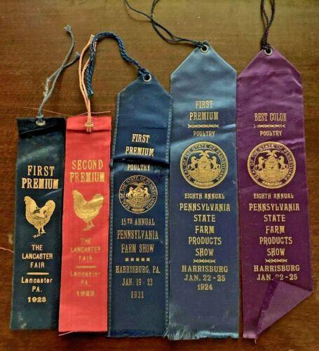 5 Antique Poultry Show Ribbons: Lancaster, PA Fair & PA Farm Show *1920