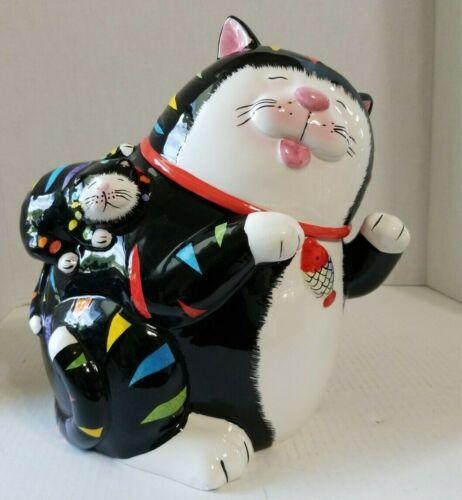 "CKAO Large Whimsical Rainbow Black Cat w/ Kitten Ceramic Cookie Jar 11"""