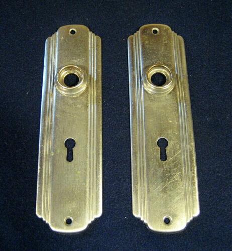 Antique Art Deco Nickel Brass Passage Mortise Door Lock Back Plate Escutcheon