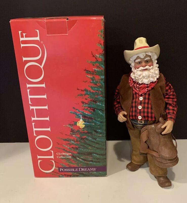 Retired 2000 Clothtique Possible Dreams Christmas Cowboy Santa 713364NEW IOB