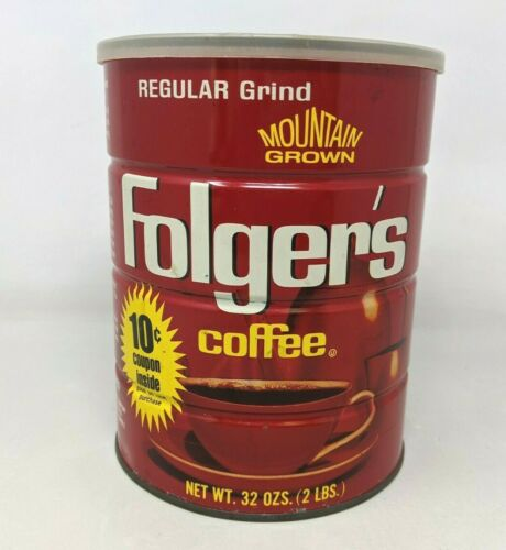 VTG Folgers Coffee Regular Grind Mountain Grown 32 Oz 2 Lbs Metal Tin Can w/ Lid