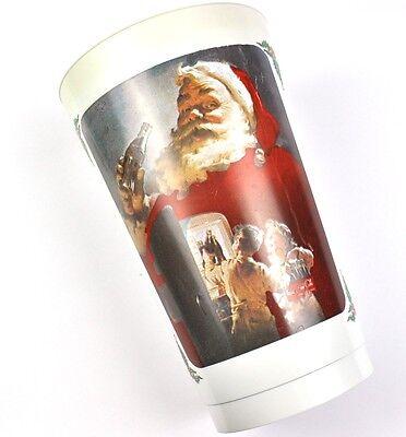 Coca Cola Coke USA Kanada 1980er Plastik Becher Cup - Santa mit Kinder Motiv